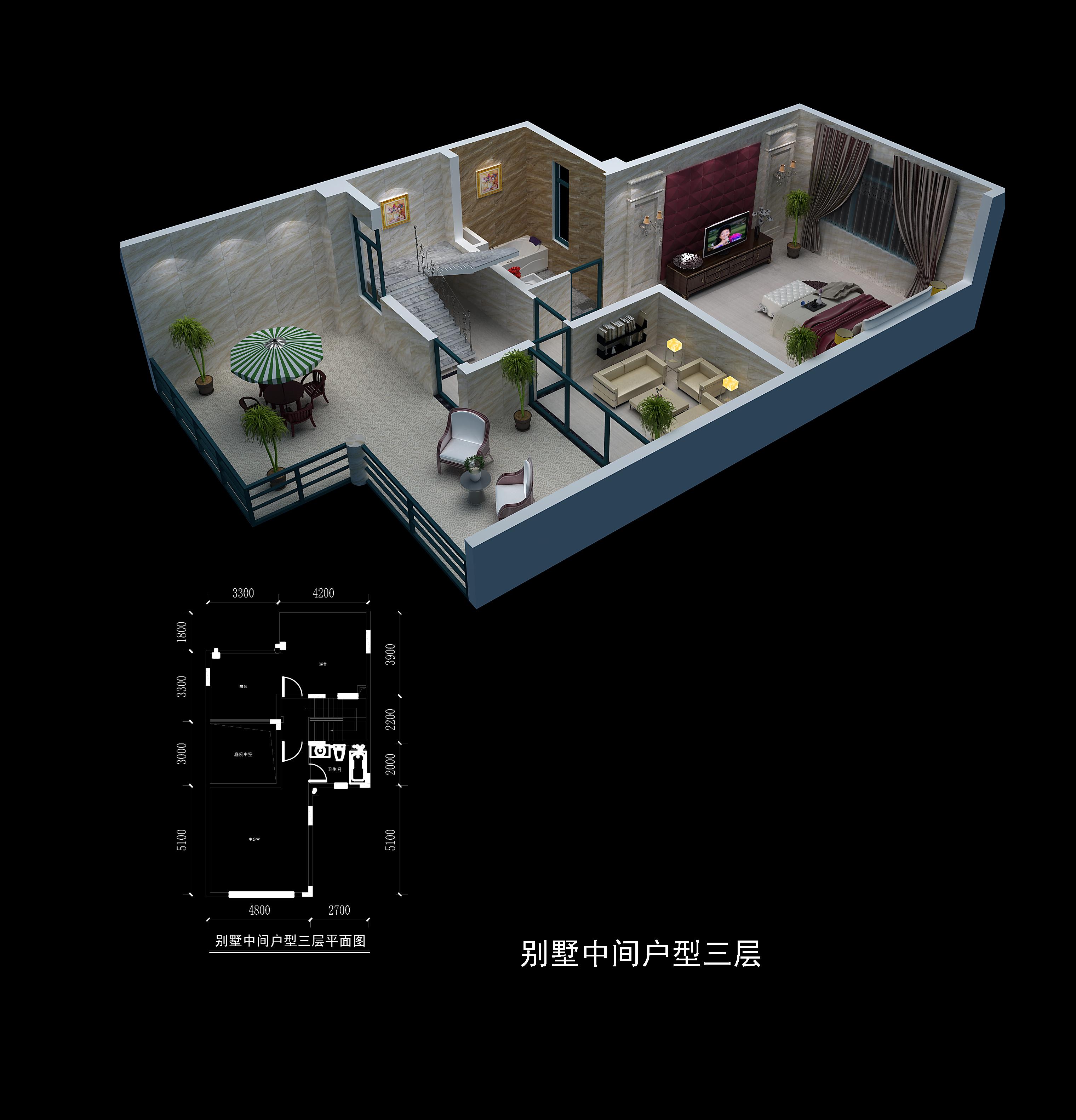 别墅中间户型三层