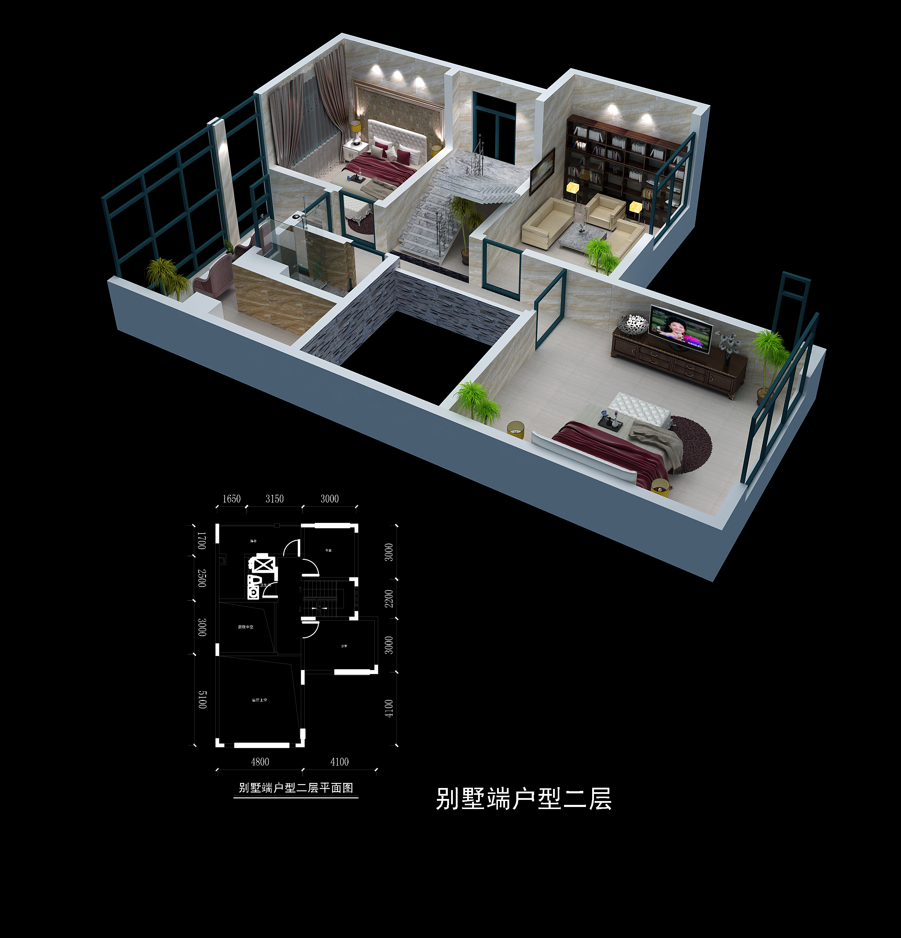 别墅端户型二层